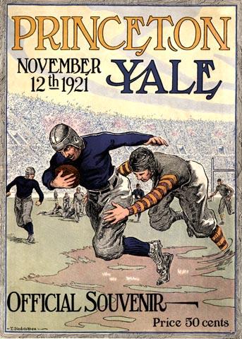 Vintage university football game program prints